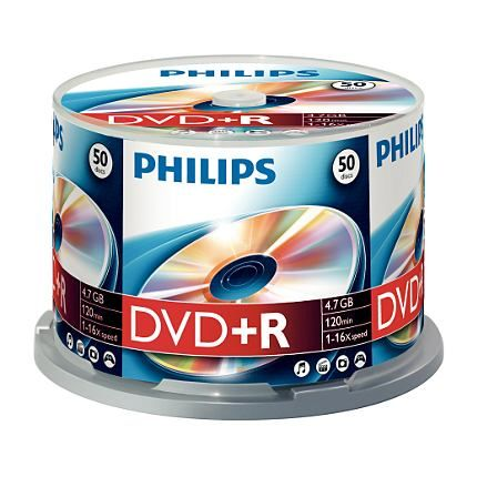 Philips DR4S6B50F/17 DVD+R 16x 50-Cakebox from Am-Dig