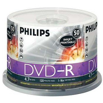 Philips DM4S6B50F/17 DVD-R 16x 4.7GB Logo 50 Pack from Am-Dig