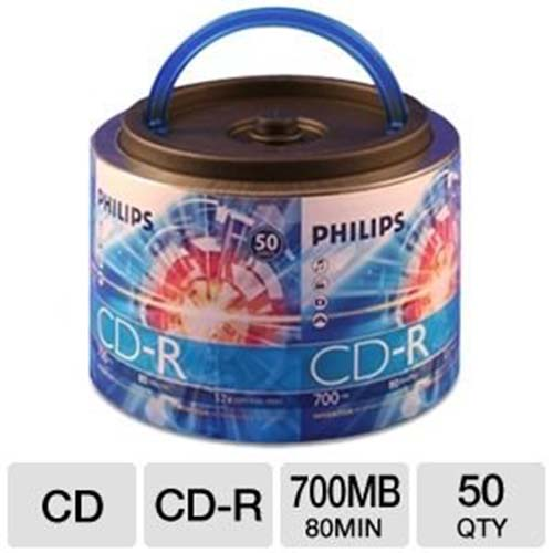 Philips CD-R Logo Top in 50 Bulk Pack w/ Handle from Am-Dig