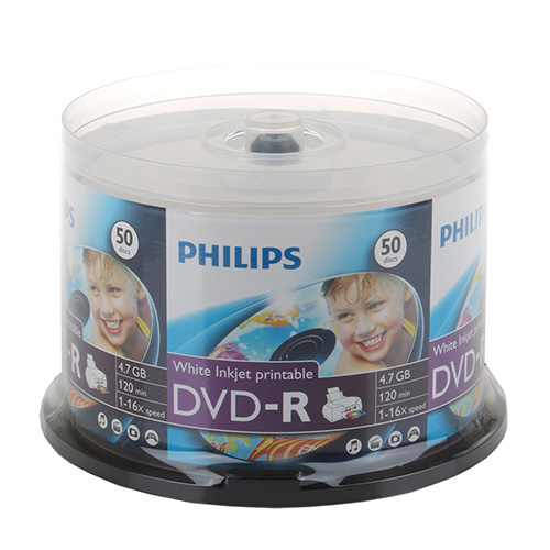 Philips DVD-R 16x White Inkjet Printable Clear Hub from Am-Dig