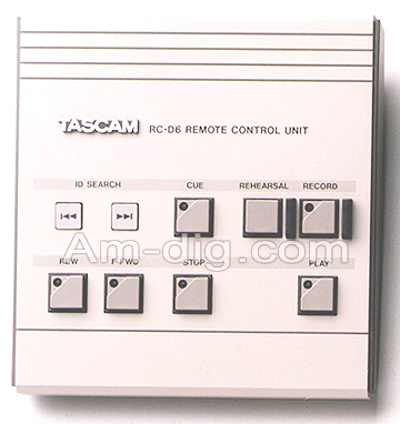 Tascam RC-D6: Remote Control for DA60 DAT Recorder from Am-Dig