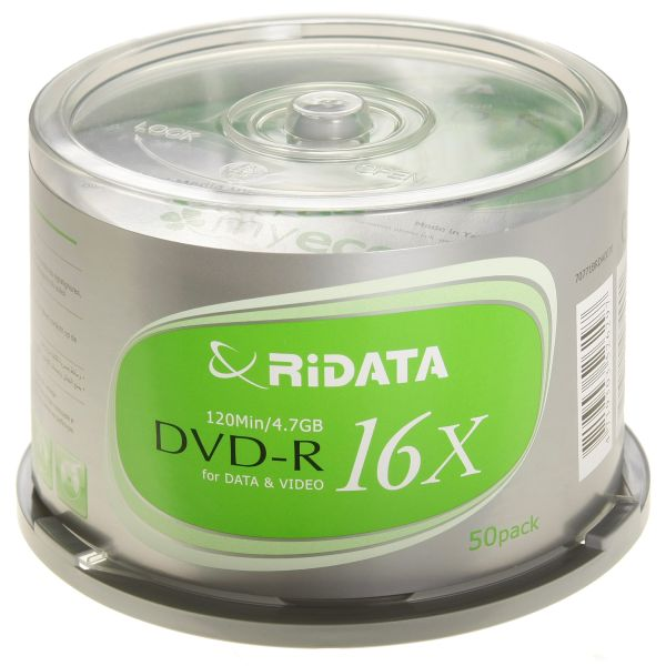 Ridata/Ritek DVD-R 16x Silver Logo 50-Cakebox from Am-Dig