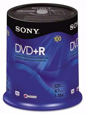 Sony 100DPR47RS4 DVD+R Discs 4.7GB 16x 100/Pack from Am-Dig