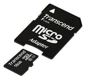Transcend 16GB Premium MicroSD with Adapter from Am-Dig