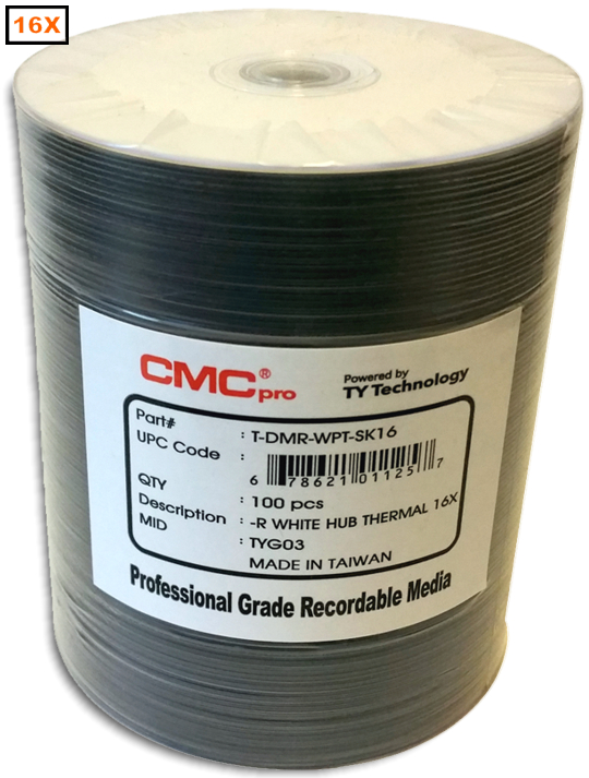 Taiyo Yuden/CMC  DVD-R 16x White Everest 100-Stack from Am-Dig