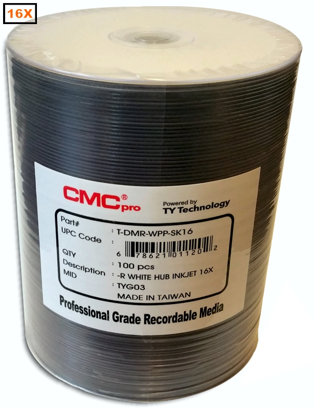 Taiyo Yuden / CMC DVD-R 16x Inkjet White Hub Print from Am-Dig