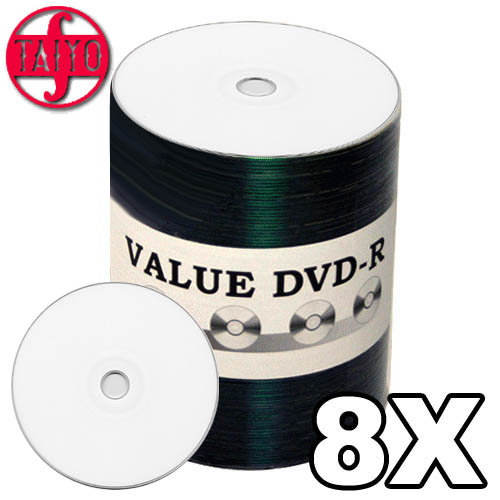 Taiyo Yuden Value DVD-R 8x Inkjet White Spindle from Am-Dig