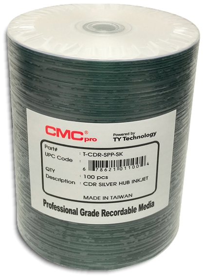 Taiyo Yuden / CMC HubPrintable Inkjet Silver CDR80 from Am-Dig
