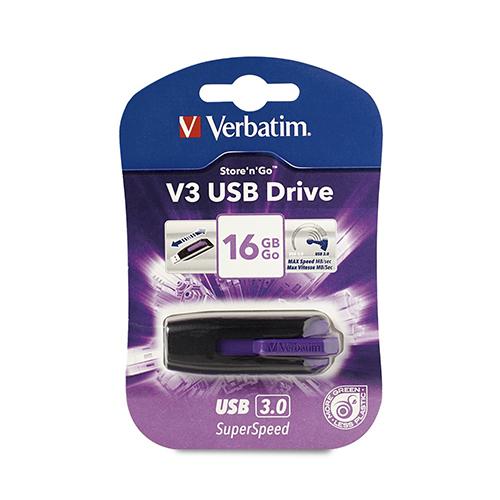 Verbatim 49180: Store n Go 16GB V3 Purple USB 3.0 from Am-Dig