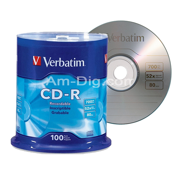 Verbatim 94554: 700MB / 80 min Silver Branded from Am-Dig