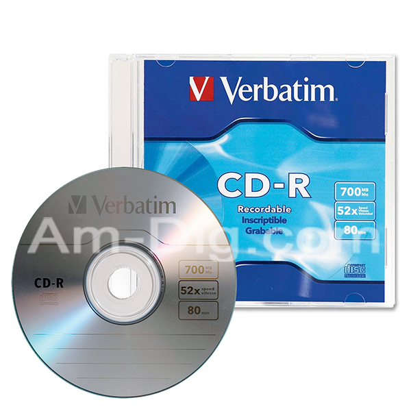 Verbatim 94776 CDR 700MB 52x Branded-1pk Slim Case from Am-Dig