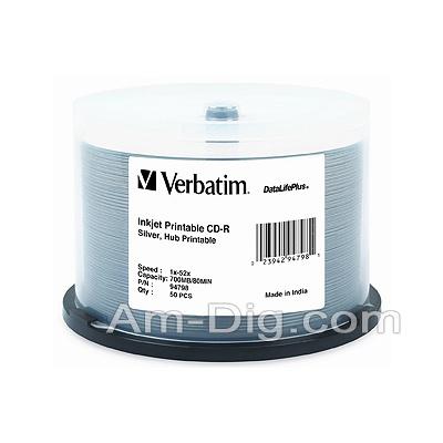 Verbatim 94798: 700MB / 80 min Silver InkJet from Am-Dig
