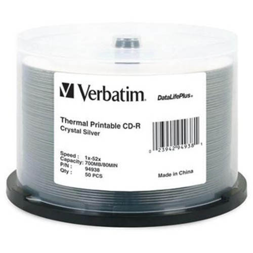 Verbatim 94938: CD-R 700MB 52x Thermal Print 50pk from Am-Dig