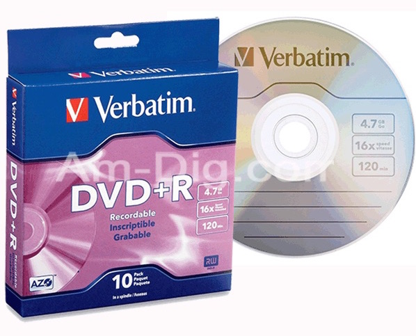 Verbatim 95032 AZO DVD+R 4.7GB 16x -10pk Spindle from Am-Dig