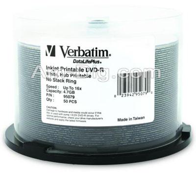 Verbatim 95079: Inkjet White 16x  DVD-R from Am-Dig
