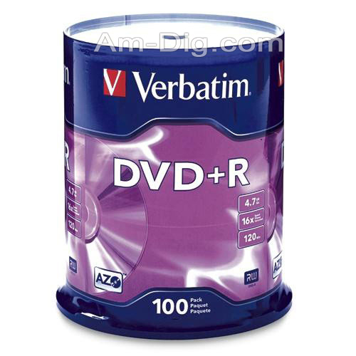 Verbatim 95098: Branded 16x DVD+R (plus) from Am-Dig