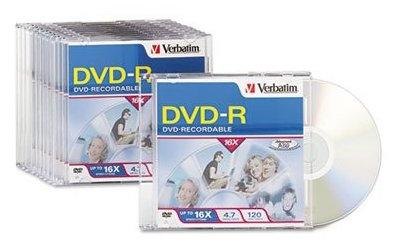 Verbatim 95099 DVD-R Discs 4.7GB 16x W/Slim Jewel from Am-Dig