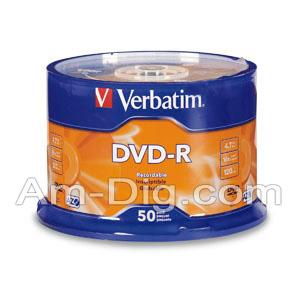 Verbatim 95101: Silver Branded, 4.7GB, 16x DVD-R from Am-Dig