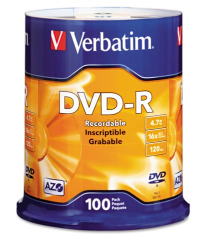 Verbatim 95102 AZO DVD-R 4.7GB 16x-100 pk Spindle from Am-Dig