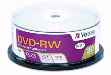 Verbatim 95179: DVD-RW Discs 4.7GB 2x Spindle 30pk from Am-Dig