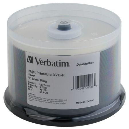 Verbatim 95186 DVD-R 4.7GB 8x Silver Inkjet- 50 pk from Am-Dig