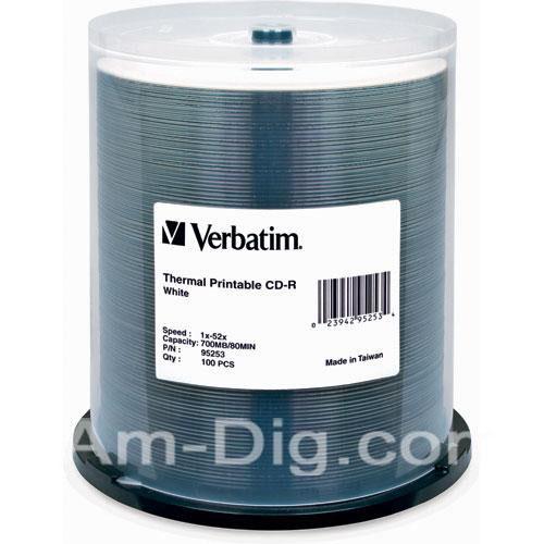 Verbatim 95253 CD-R 80MIN 52X WTP 100 SPN EVR/PRI from Am-Dig