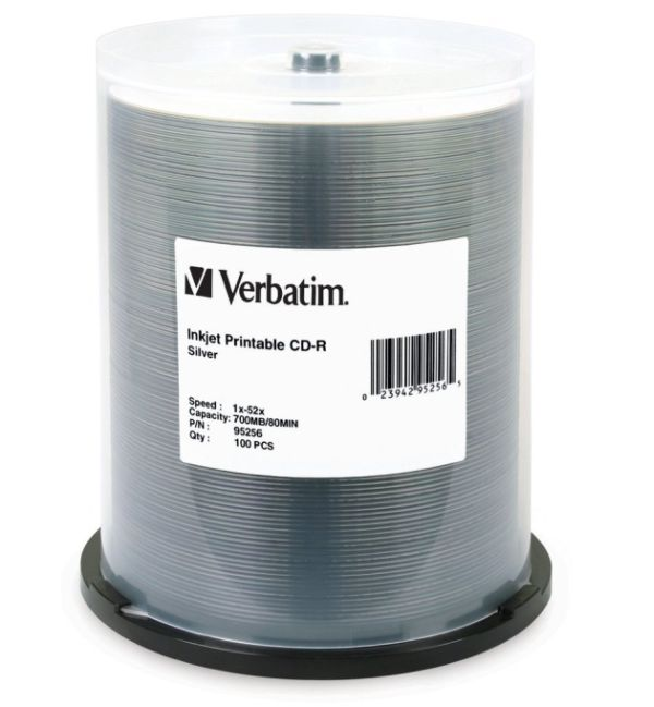 Verbatim 95256: CD-R 700MB 52x Silver Inkjet 100pk from Am-Dig