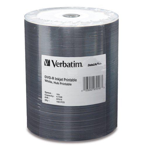 Verbatim 97016 DVD-R16x White Inkjet Hub 100-Stack from Am-Dig