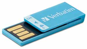 Verbatim 97550: Clip-It Blue USB Flash Drive, 4GB  from Am-Dig