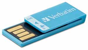 Verbatim 97550: Clip-It Blue USB Flash Drive, 4GB  from Am-Dig