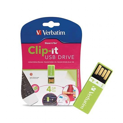 Verbatim 97556: Green Clip-It USB Flash Drive, 4GB from Am-Dig