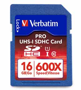 Verbatim 98046: Pro SDHC Memory Card, 16GB, 600X from Am-Dig