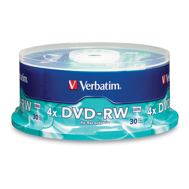 Verbatim 95179 DVD-RW Discs 4.7GB 2x Spindle 30pk