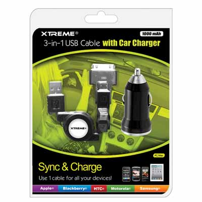 Xtreme 88212: Cable 3-in-1 USB Cable & Car Charger from Am-Dig