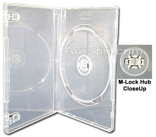 DVD Case - Clear Single M-Lock Hub 14mm Spine from Am-Dig