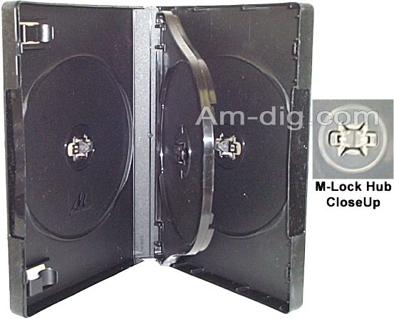 DVD Case - Black Quad with M-Lock from Am-Dig