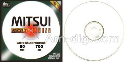 MAM-A 43111 GOLD CD-R 700MB InkJet White 100-Stack from Am-Dig