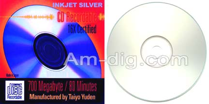 Taiyo Yuden / CMC 80 Min Inkjet Silver Spindle from Am-Dig