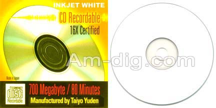 Taiyo Yuden / CMC 80 Min Inkjet White Spindle from Am-Dig