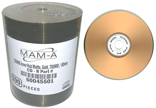 MAM-A 45501: GOLD CD-R 700MB No Logo Matte Stack from Am-Dig