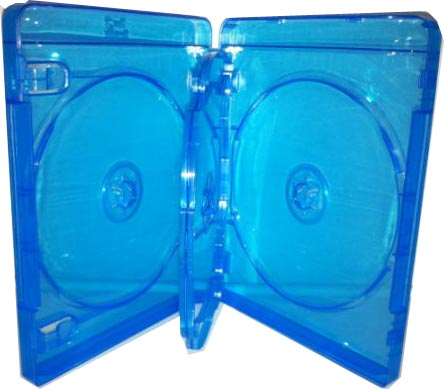 Blu-Ray Case - Light Blue Triple 22mm Flip Tray from Am-Dig