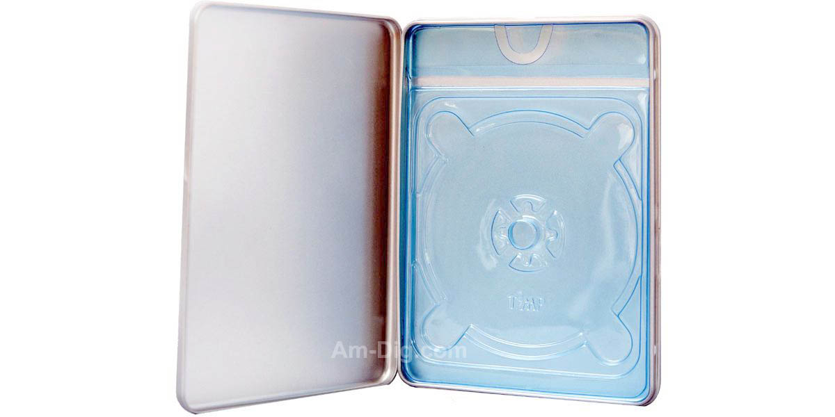 Images of the Tin DVD/CD Case Rectangular no Window Blue Tray