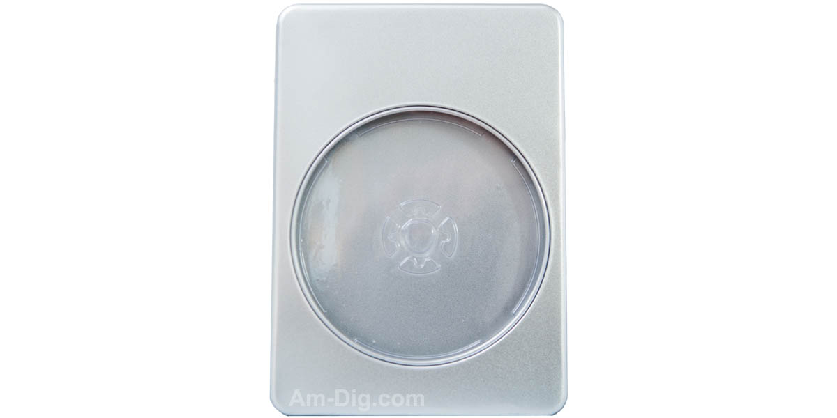 Tin DVD/CD Case Rectangular with Window Clear Tray - Front View