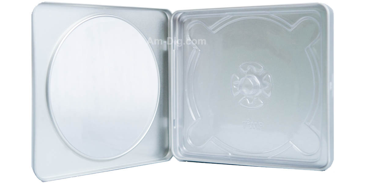 tin cd dvd case square style w window clear tray from american digital