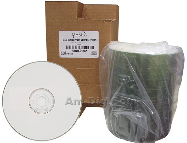 MAM-A 40902: GOLD CD-R 650MB White Prism Thermal from Am-Dig