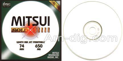 MAM-A 41240: GOLD CD-R 650MB White InkJet Stack from Am-Dig