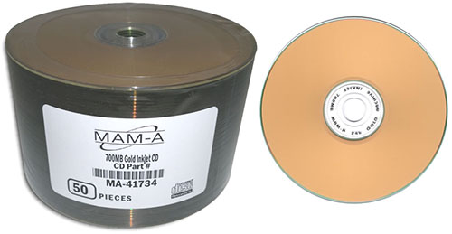 MAM-A 41734: GOLD CD-R 700MB InkJet Gold 100-Stack from Am-Dig