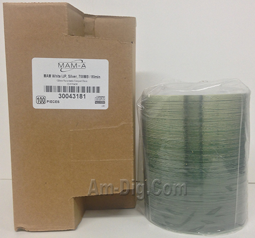 MAM-A 43181: CD-R 700MB InkJet White 100-Stack from Am-Dig