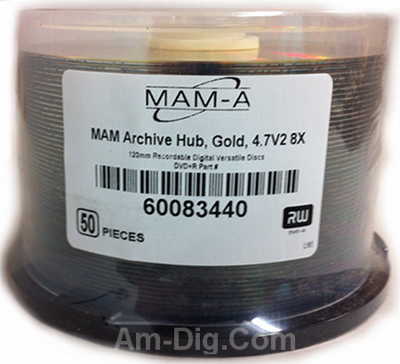 MAM-A 83440: GOLD DVD+R 4.7GB Archival No Logo from Am-Dig