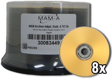 MAM-A 83449: GOLD DVD-R 4.7GB Gold InkJet Cakebox from Am-Dig